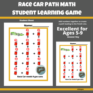 Race Car Path Math Learning Game for Students