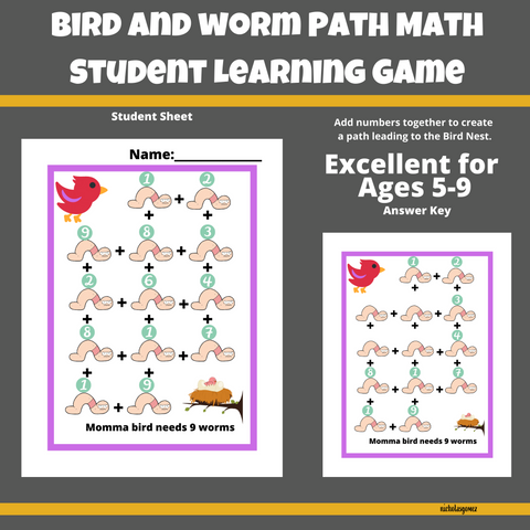 Bird and Worm Path Math Learning Game for Students
