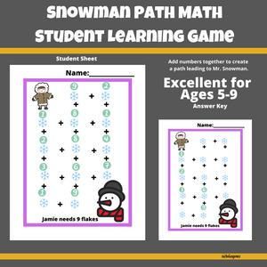 Snowman Path Math Learning Game for Students