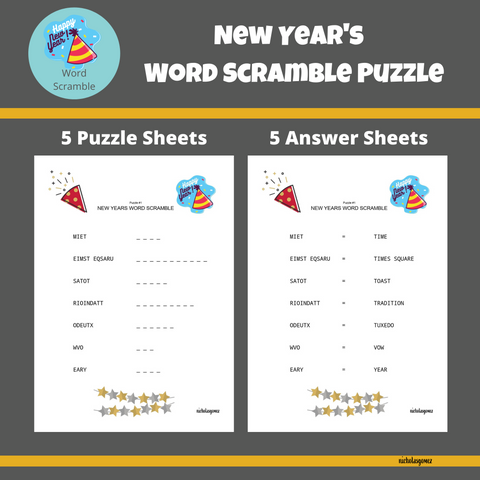 New Year's Word Scramble Puzzle with Answer Keys
