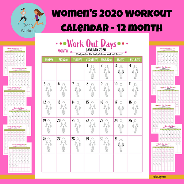 Women's 2020 Calendar Workout Training Strength Tracker Printable