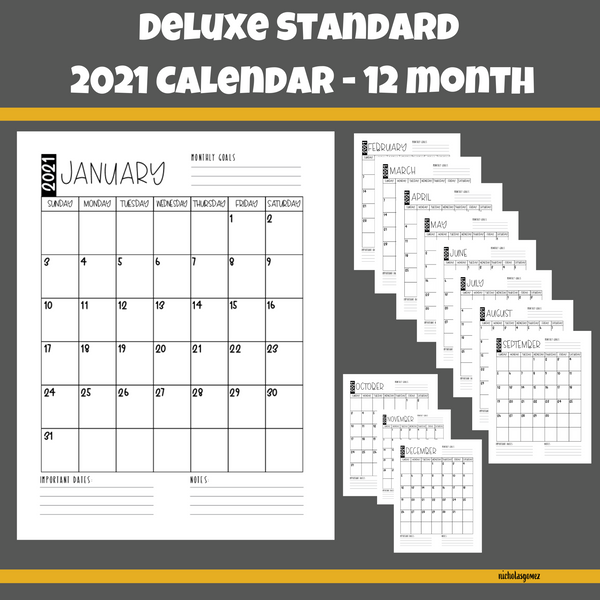2021 Deluxe Standard US Letter Size Monthly Calendar