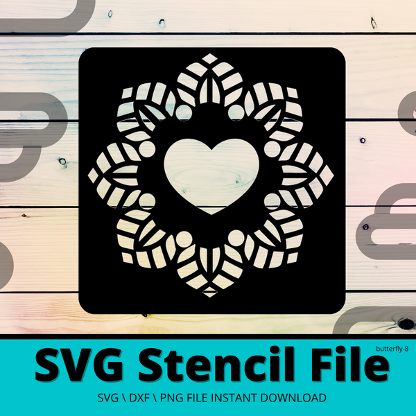 Basic Mandala Heart SVG DXF PNG Butterfly-8