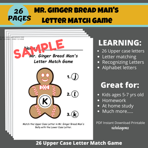 Alphabet Learning Christmas Ginger Bread Matching Game