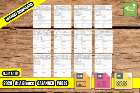 2020 At A Glance Coloring Calendar Printable Journal Pages