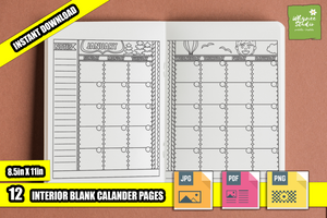 Blank Monthly Coloring Calendar Printable Journal Pages