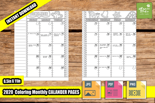 2020 Monthly Coloring Calendar Printable Journal Pages