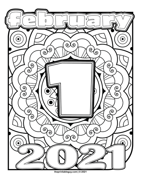 February 2021 Mandala Coloring Pages
