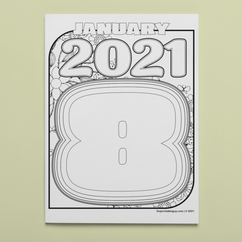 January Eight 2021 Coloring Page