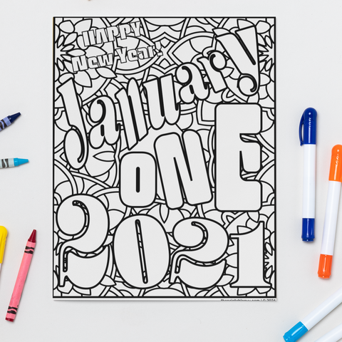 January One 2021 Coloring Page