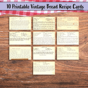 Instant Digital Download Vintage Bread Recipe Cards, Printable, Handwritten Recipe Cards, Instant Download Printable 10 Index Cards