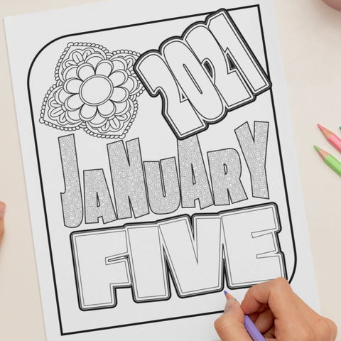 January Five 2021 Coloring Page