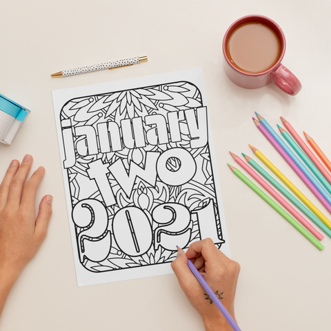 January Two 2021 Coloring Page