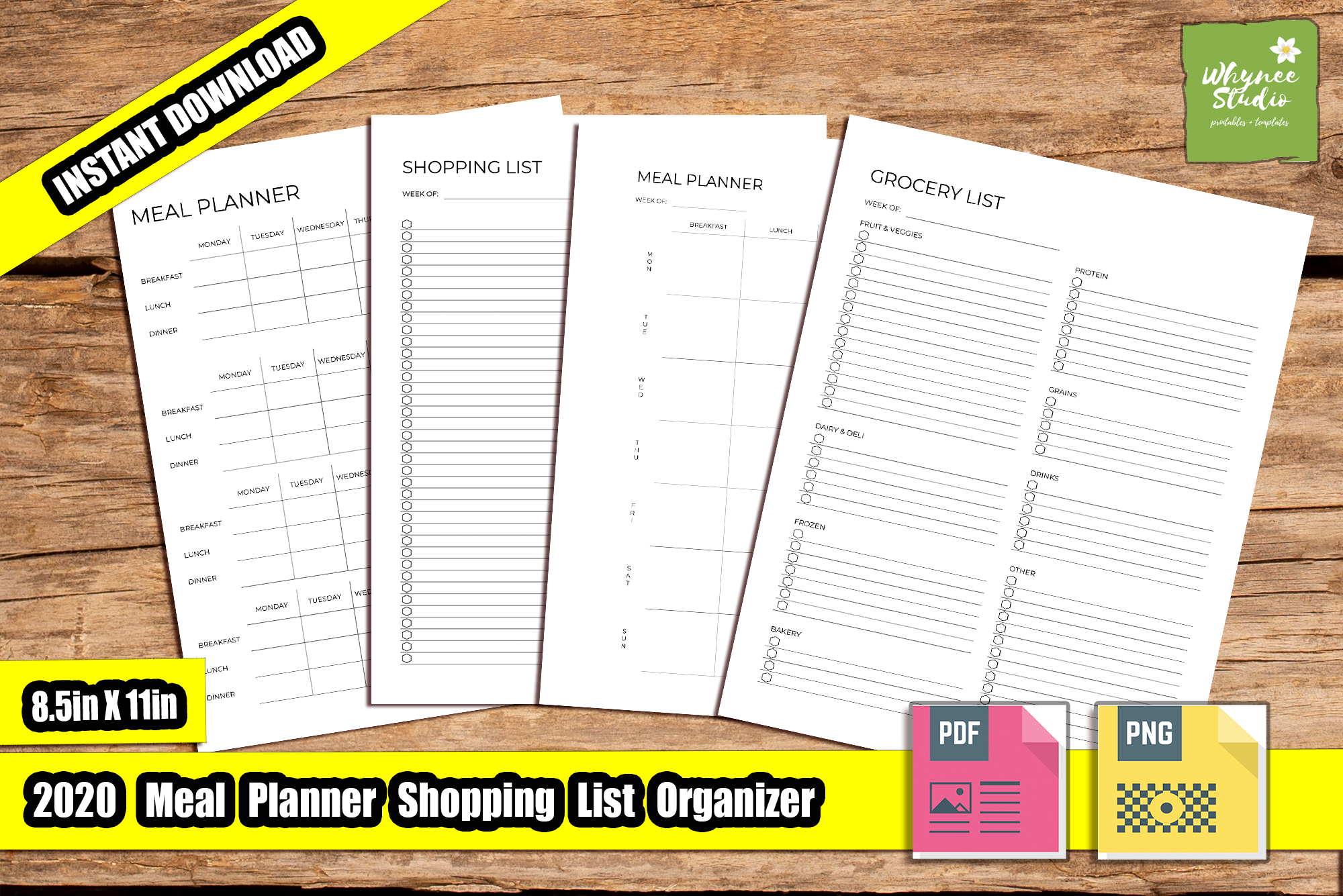 2020 Meal Planner Printable Self-Publishing KDP Interiors Downloadable Journal Notebooks Prints