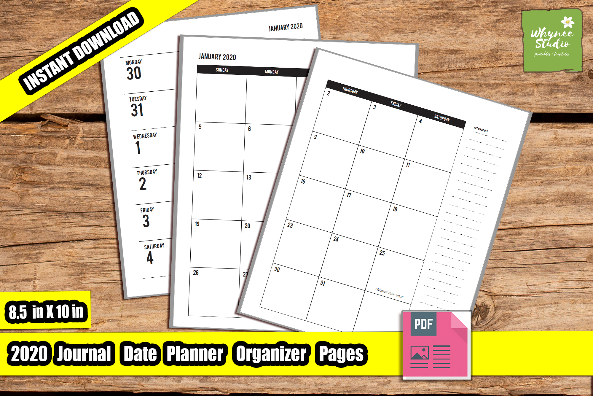 2020 Daily Weekly Monthly Yearly Planner 8in x 10in