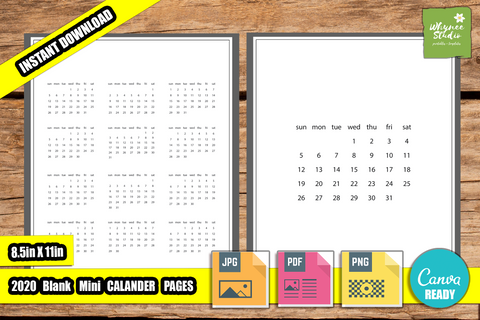 2020 Blank Mini Calendar Pages for KDP, Canva Ready, Journals and Planners