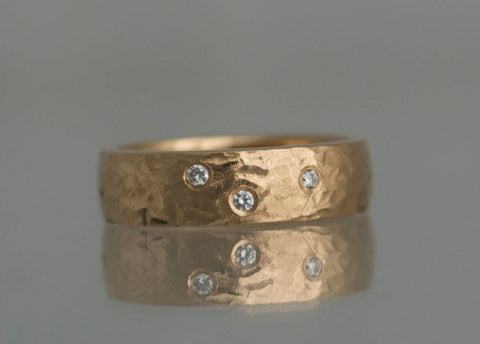 Evighedsringen, fingerring, 6 mm, 18K rødguld med 3 klare diamanter