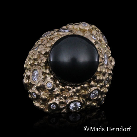 Myriader, fingerring, tahitiperle 12 mm, diamanter, 18k guld