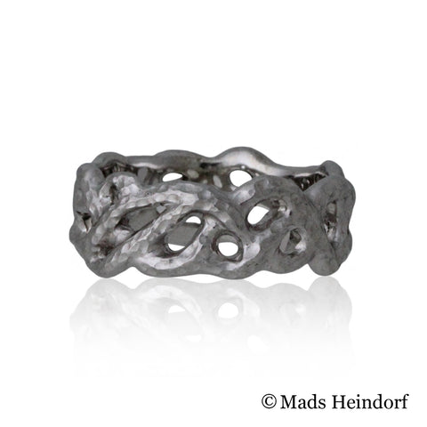Skovkrat, fingerring, 8 mm bred, sterling sølv