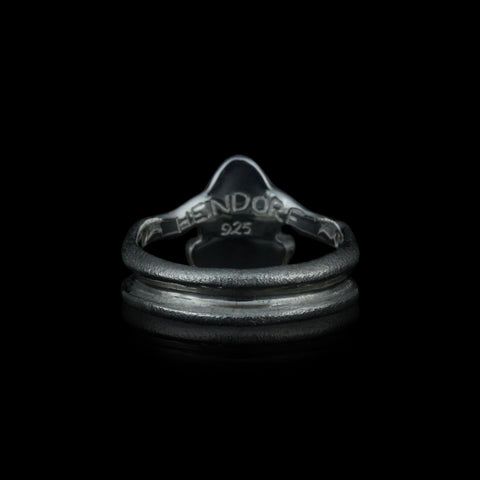 Frø, fingerring, 15 mm, sterling sølv med 2 blå diamanter
