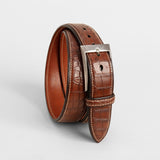 Handmade Alligator belt - Cognac
