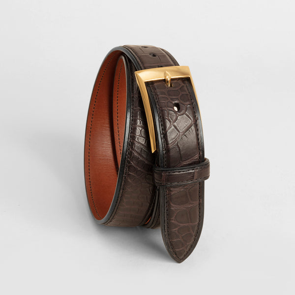 Handmade Alligator belt - Dark Brown