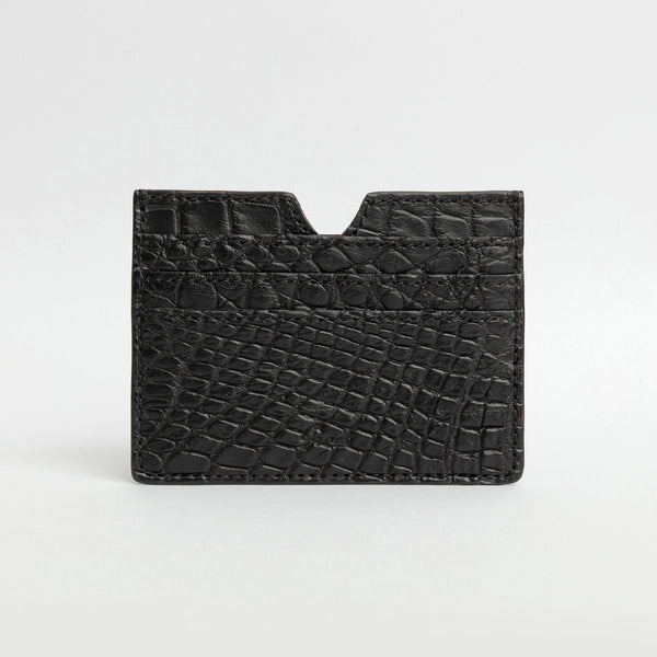 6 Card holder in Alligator - Black