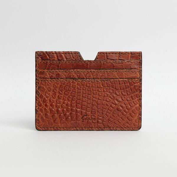 6 Card holder in Alligator - Gold
