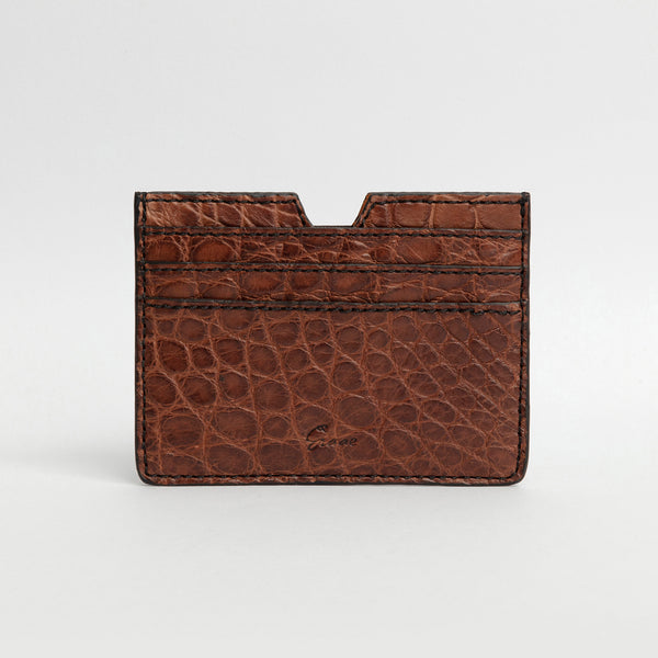 6 Card holder in Alligator - Dark Gold
