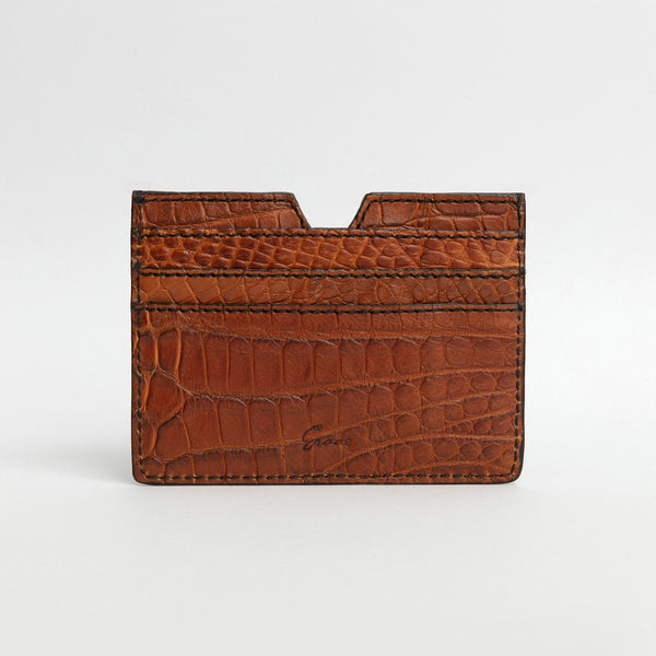 6 Card holder in Alligator - Honey