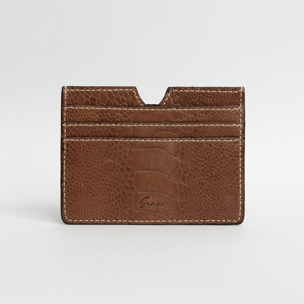 6 Card holder in Ostrich - Kango Tabac Sateen