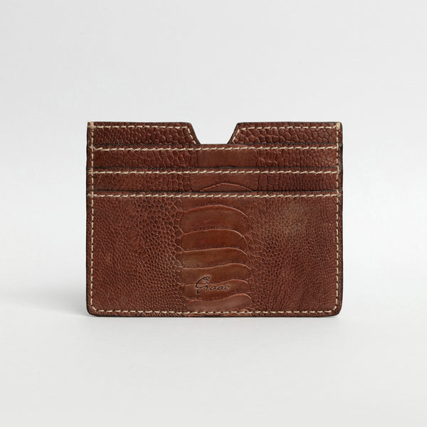 6 Card holder in Ostrich - Timber Brown