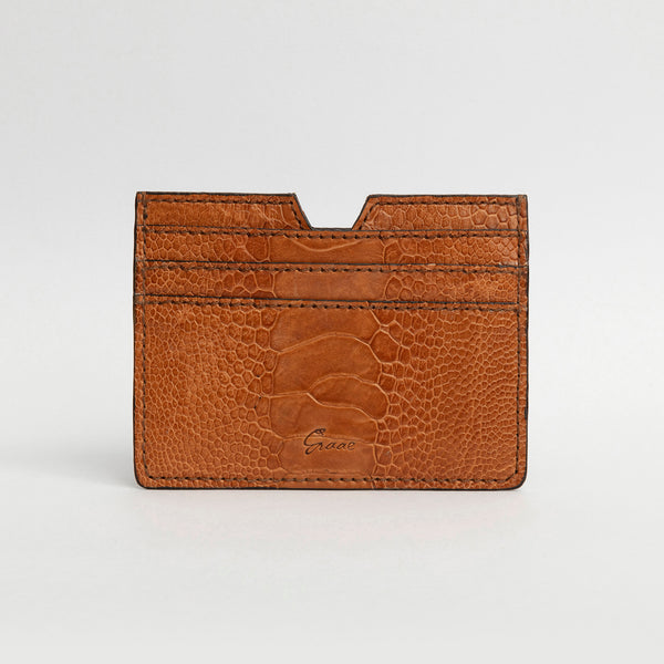 6 Card holder in Ostrich - Burnt Amber Sateen