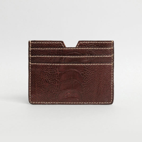 6 Card holder in Ostrich - Cigar Sateen