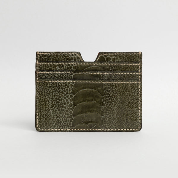 6 Card holder in Ostrich - Forest Green