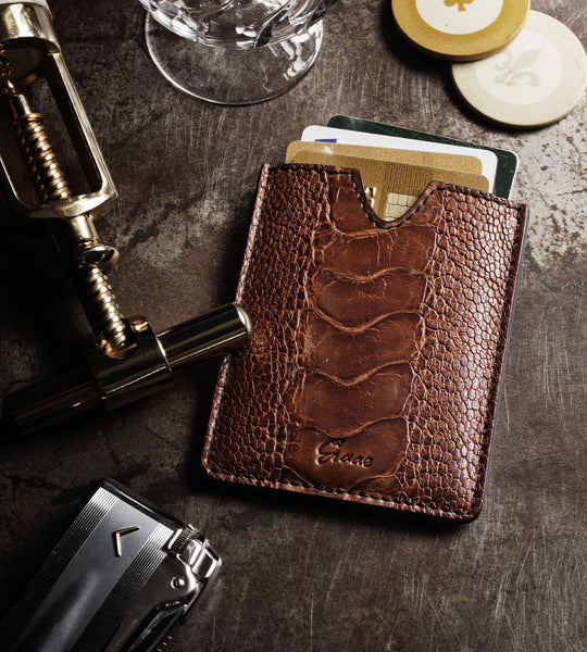 4 card holder in ostrich - dark brown