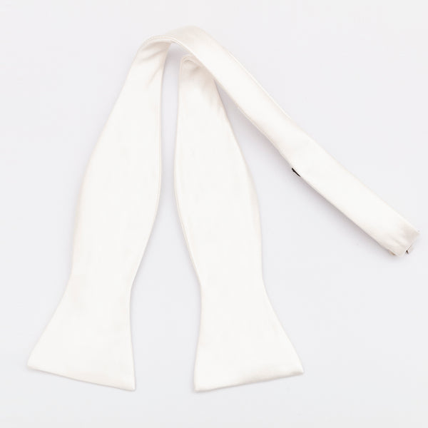 SELF TIE 100% SILK SATEEN - WHITE