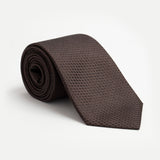 TIE 100% SILK JACQUARD - DARK BROWN