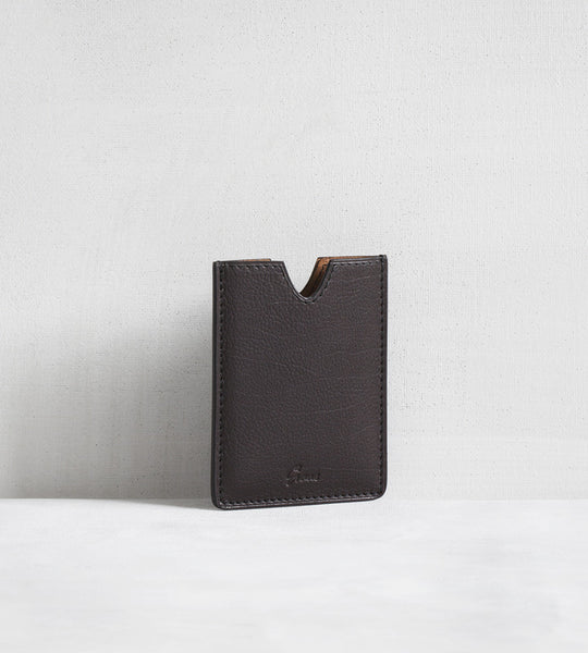4 card holder in bull calf - dark brown