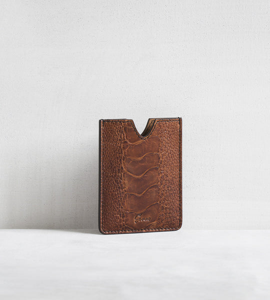 4 card holder in ostrich - cognac