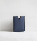 4 card holder in bull calf - blue