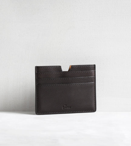 6 card holder in bull calf - dark brown