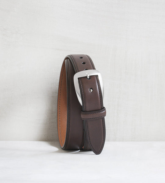 Classic calfskin belt - dark brown