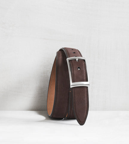 Nubuck belt - dark brown