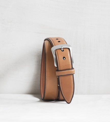 Casual calfskin belt - camello