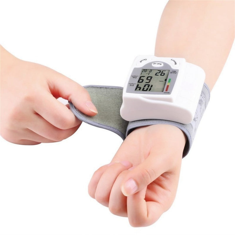 Blood Pressure Monitor Portable Digital LCD Display Wrist Blood Pressure Monitor Device Heart Beat Rate Pulse Meter