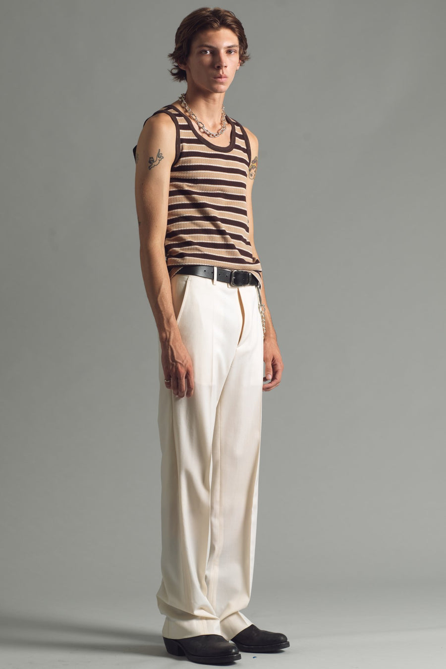 Waffle Yarn Dye Tank | Brown Stripe - SECOND/LAYER Inc.