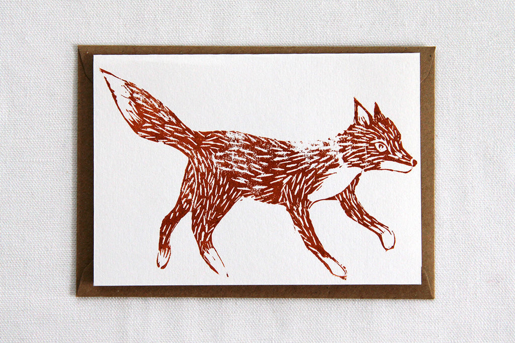 Lino Cut Fox Card