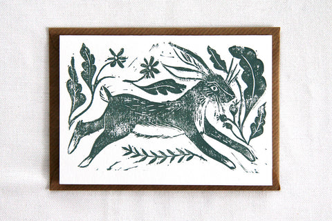 Lino Cut Leaping Hare Card