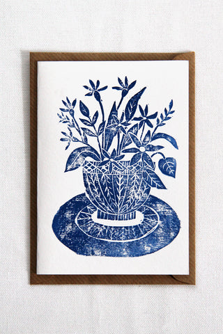 Lino Cut Vase Card